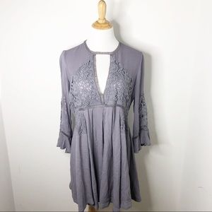 Free People Long Sleeve Boho Eyelet Dress
